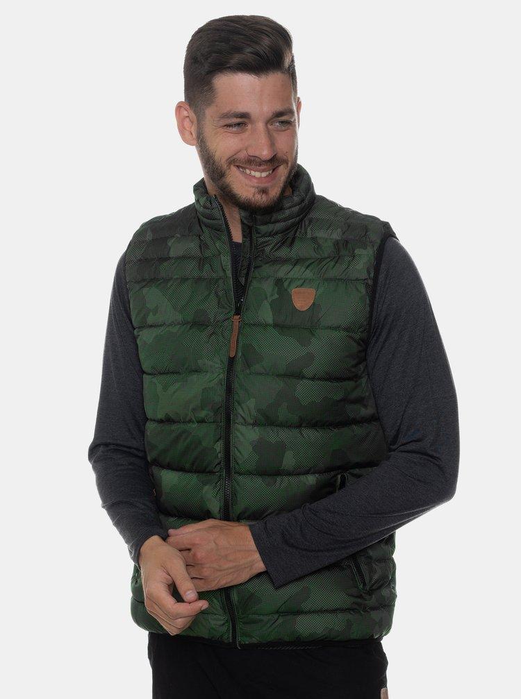 Kaki pánska vzorovaná prešívaná vesta SAM 73