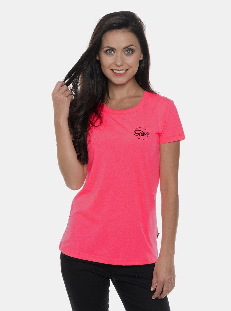 Neonovo rúžové dámske tričko s potlačou SAM 73