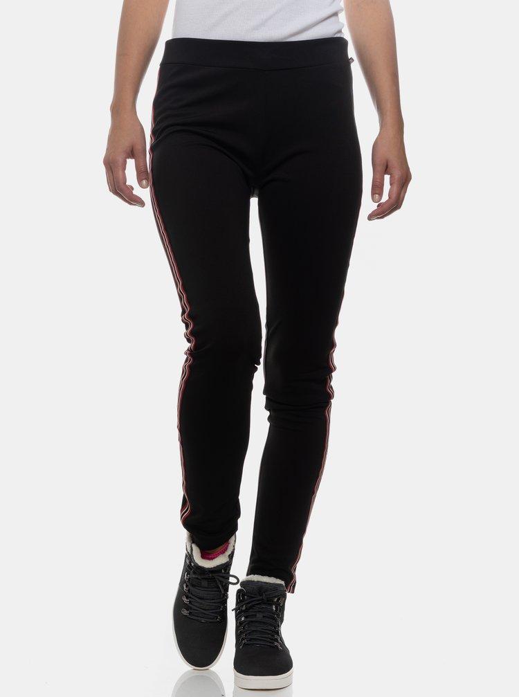 Čierne dámske legíny s pruhom na nohaviciach SAM 73
