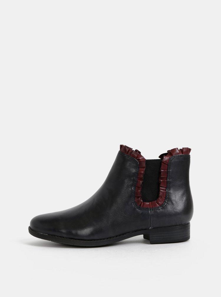 Černé kožené chelsea boty Tamaris