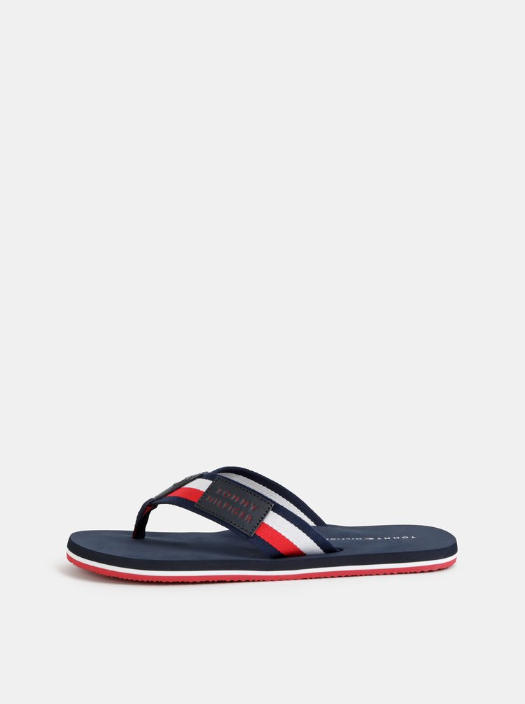 Červeno-modré pánské pruhované žabky Tommy Hilfiger Corporate