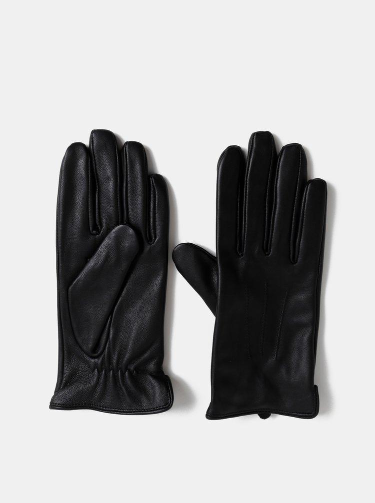 Černé kožené rukavice Pieces Nellie