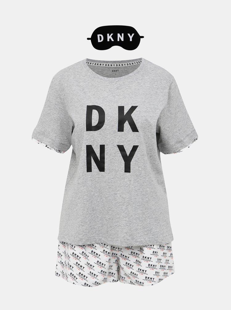 Sada dvojdielneho pyžama a škrabošky v bielo-šedej farbe DKNY