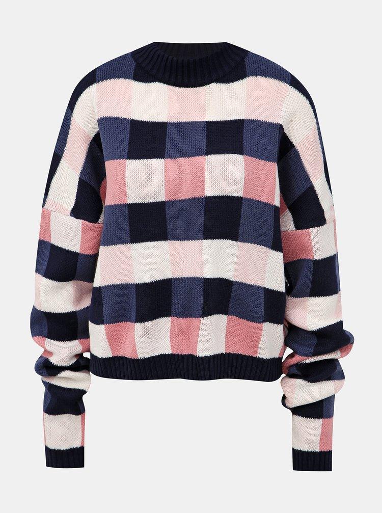 Ružovo-modrý kockovaný sveter Femi Stories Runa