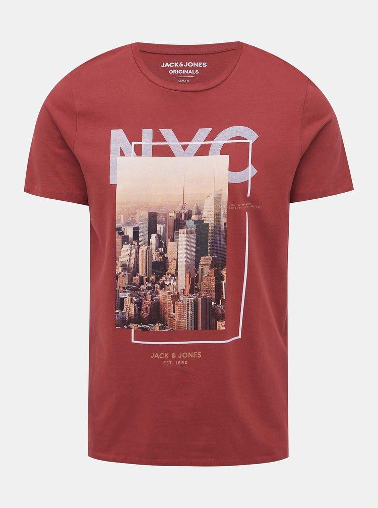 Červené tričko s potlačou Jack & Jones Cool