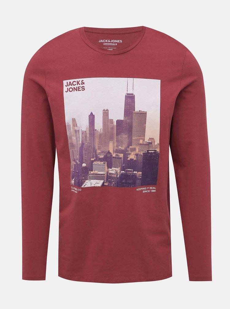 Červené tričko s potiskem Jack & Jones Town