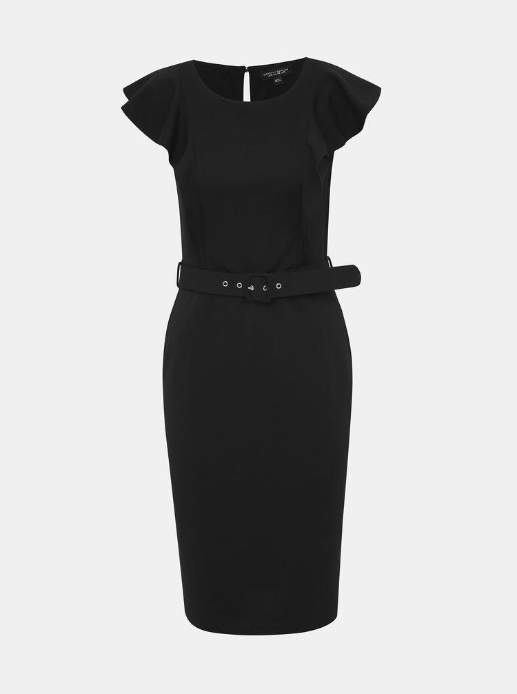 Čierne púzdrové šaty s volánmi Dorothy Perkins