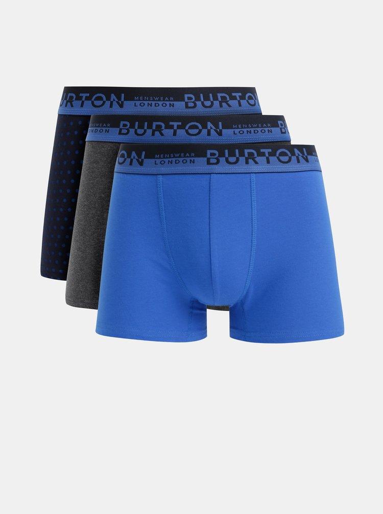 Sada tří vzorovaných boxerek v modré a šedé barvě Burton Menswear London