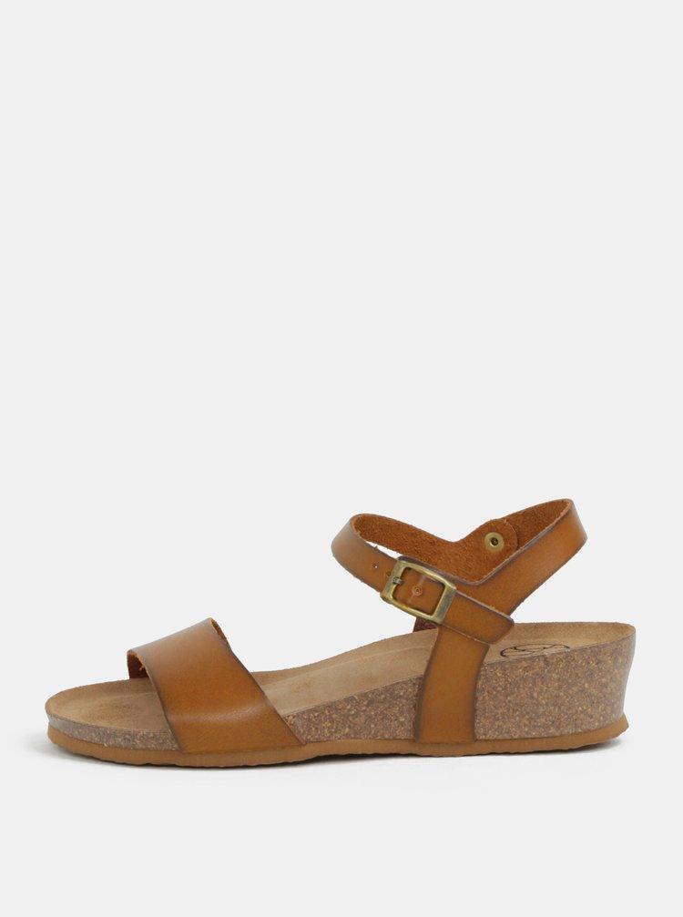Hnedé sandále na kline OJJU