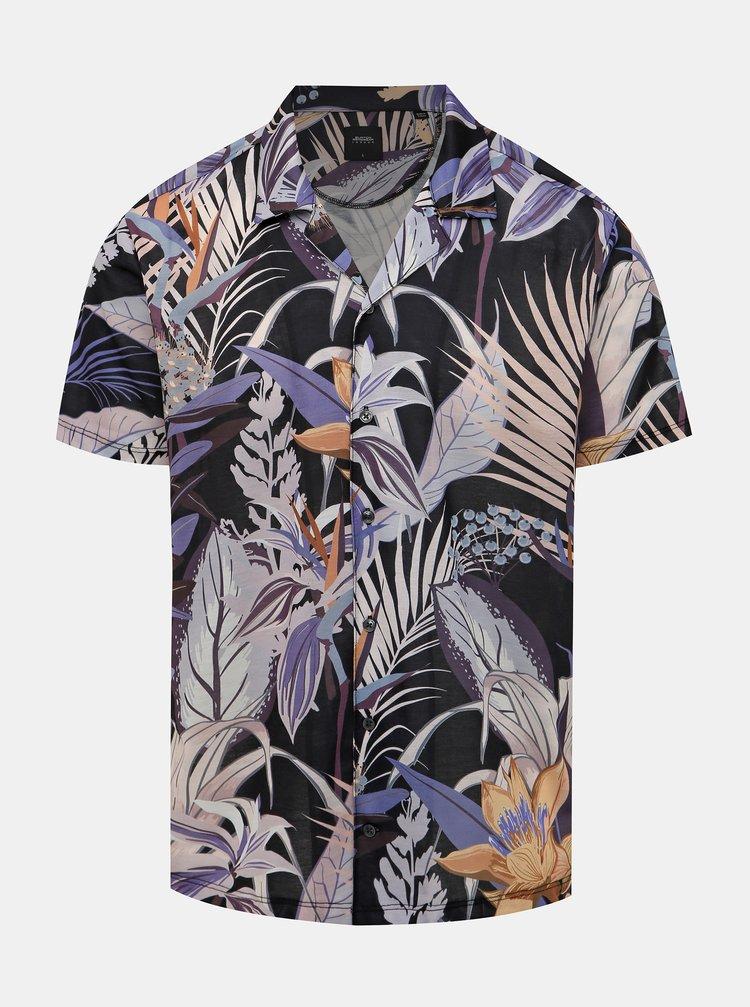 Fialovo-šedá květovaná košile Burton Menswear London