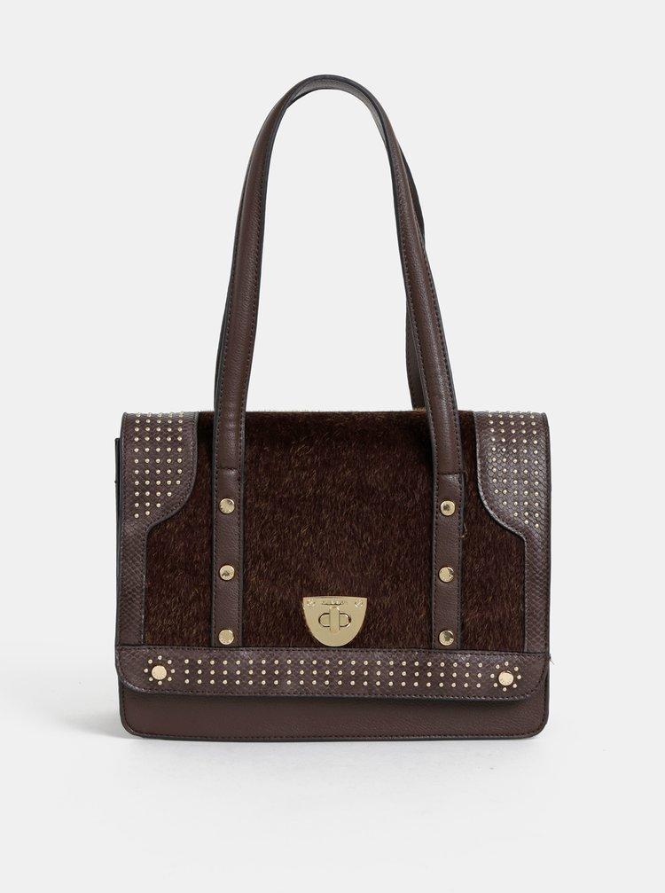 Tmavohnedá kabelka s umelým kožúškom Bessie London
