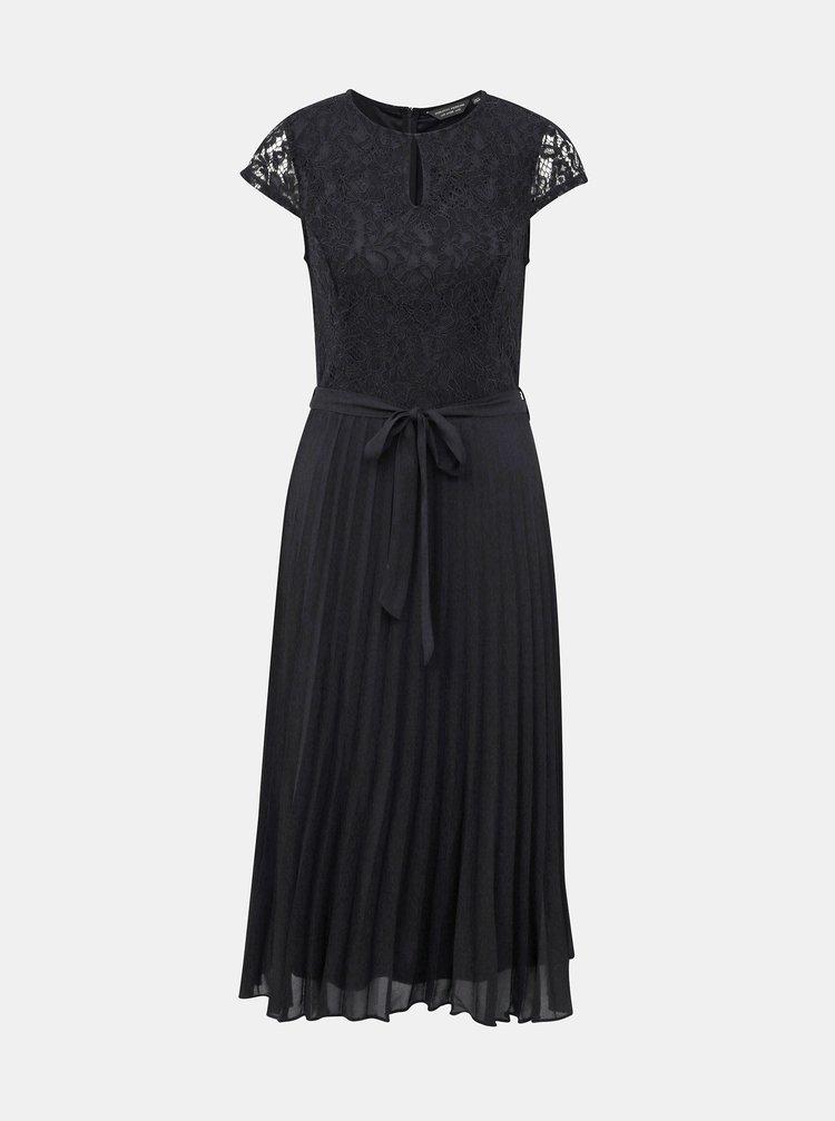 Černé midišaty s plisovanou sukní a průstřihem v dekoltu Dorothy Perkins