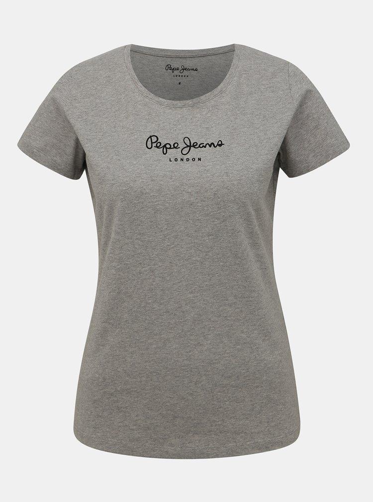 Šedé dámske tričko Pepe Jeans New Virginia