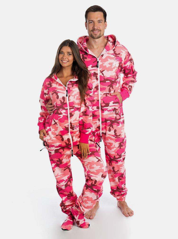 Růžový maskáčový unisex overal SKIPPY