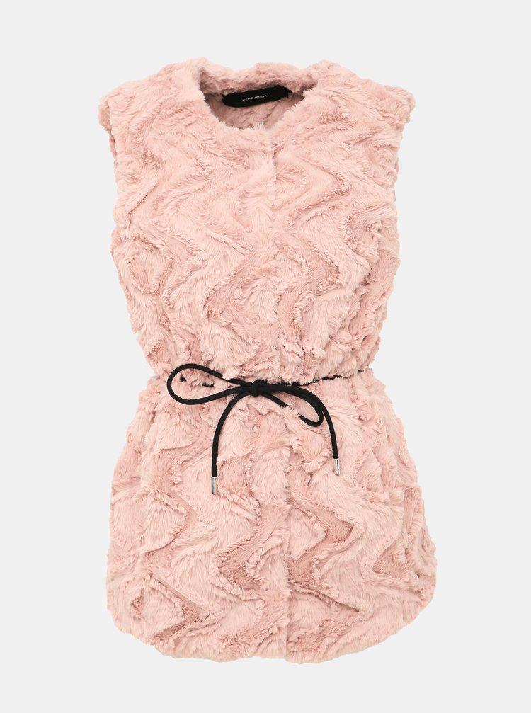 Rúžová vesta z umelej kožušiny VERO MODA Curl