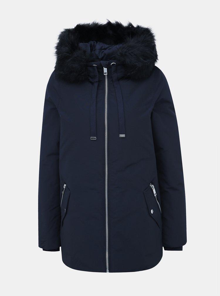 Tmavě modrá zimní bunda s umělým kožíškem VERO MODA Jessica