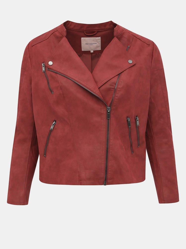 Červená koženková bunda ONLY CARMAKOMA Avana