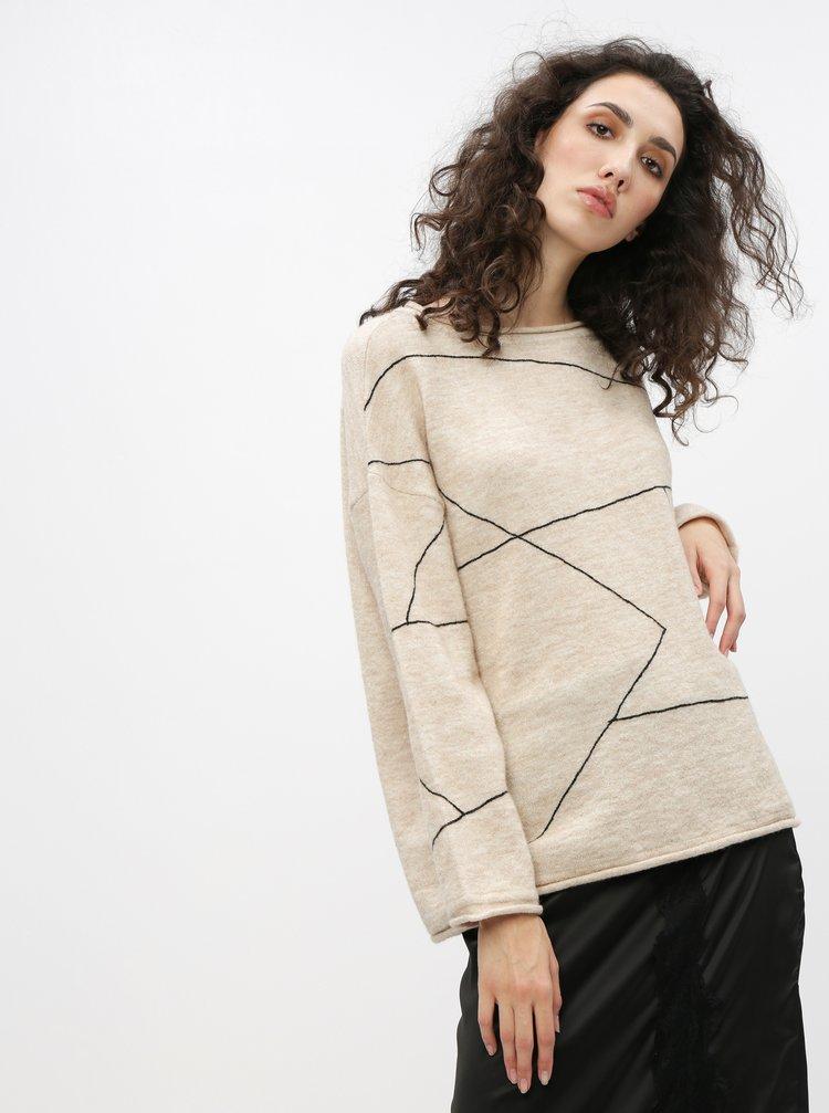 Béžový vzorovaný sveter s prímesou vlny Selected Femme Lin