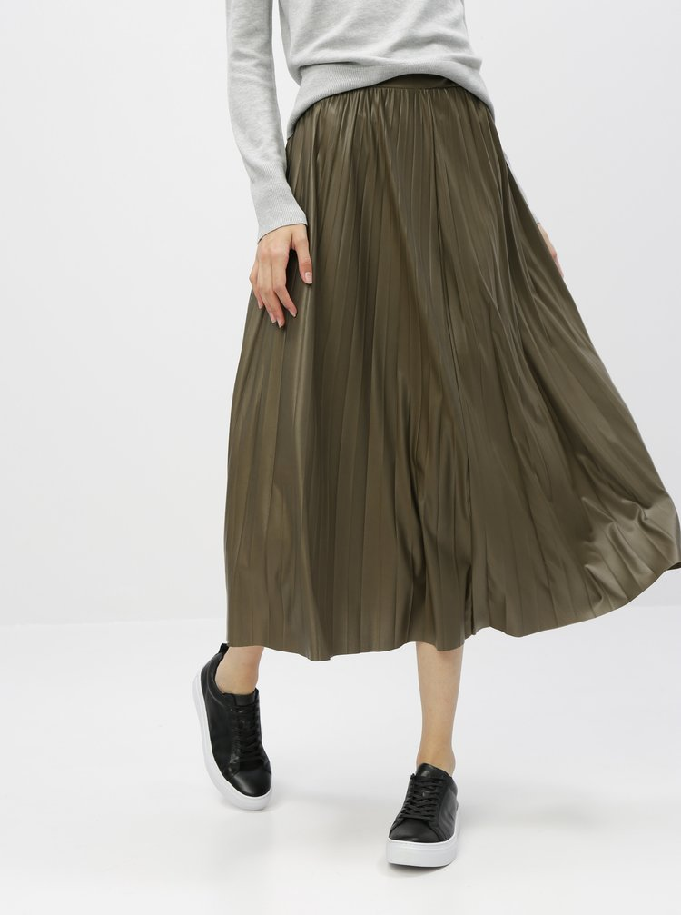 Kaki plisovaná maxi sukňa ONLY Anina