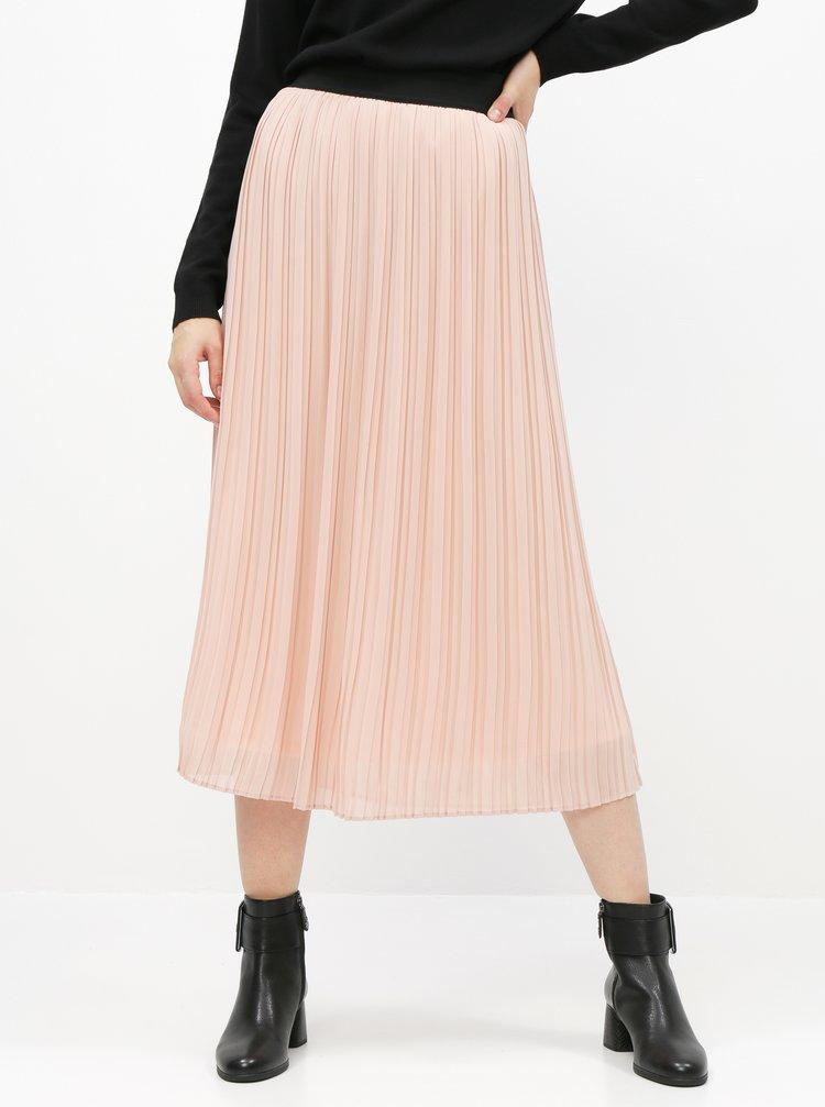 Svetloružová plisovaná midi sukňa VILA Tysha