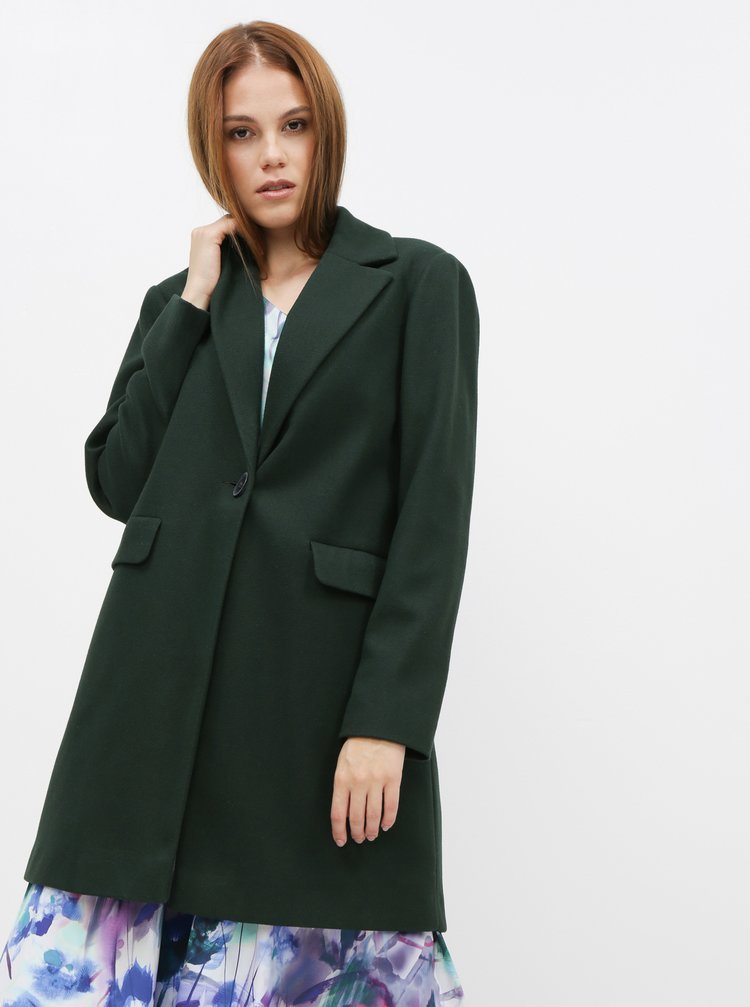 Tmavě zelený kabát Dorothy Perkins