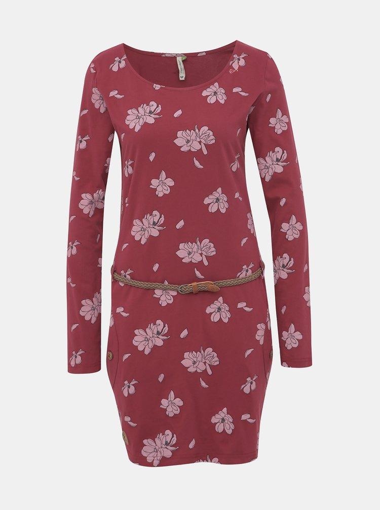 Vínové květované šaty Ragwear Talona