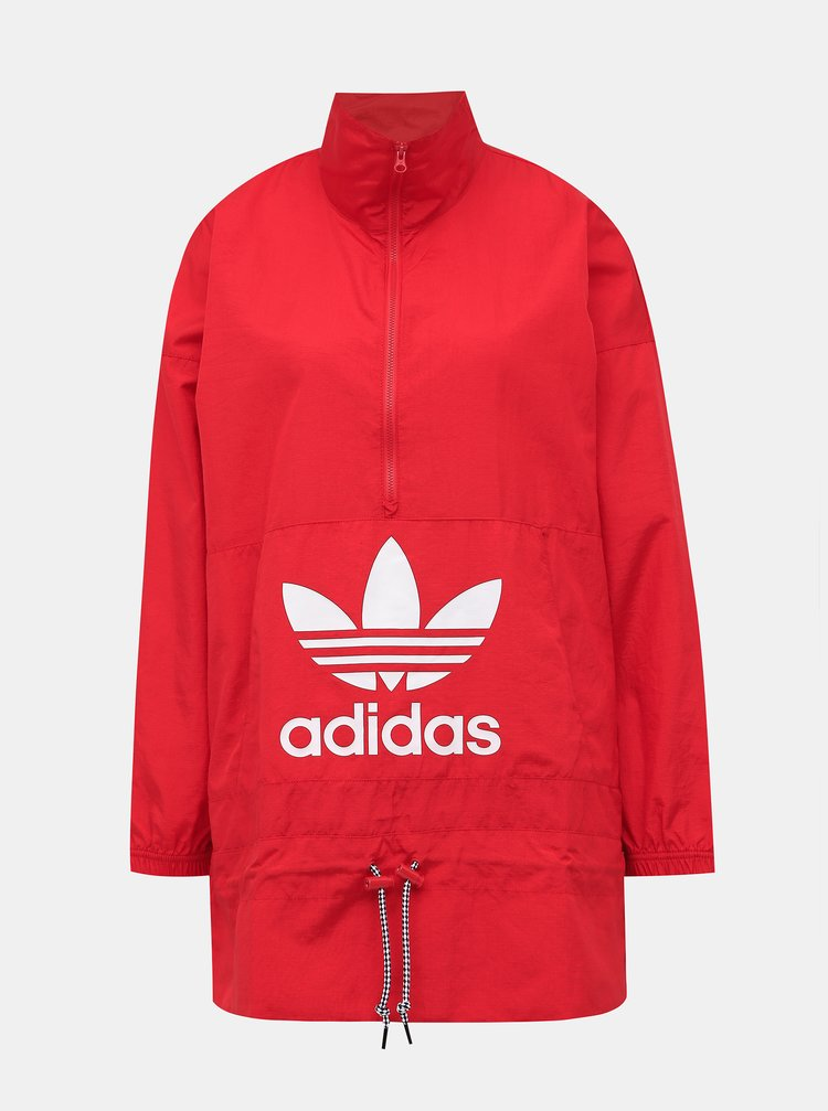 Červená dámska bunda adidas Originals Windbreaker