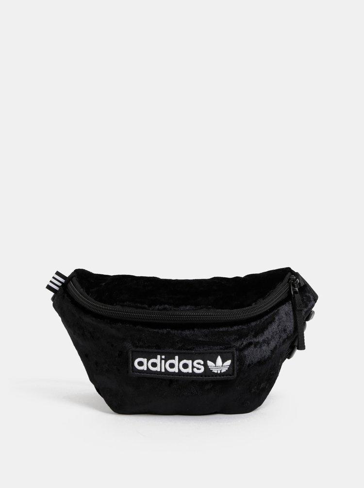Čierna dámska sametová ľadvinka s nášivkou adidas Originals Waistbag