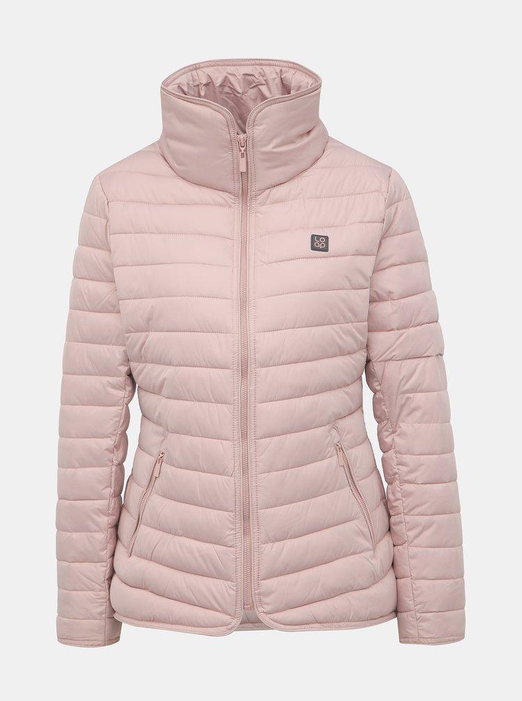 Světle růžová dámská prošívaná voděodpudivá zimní bunda LOAP Jenni