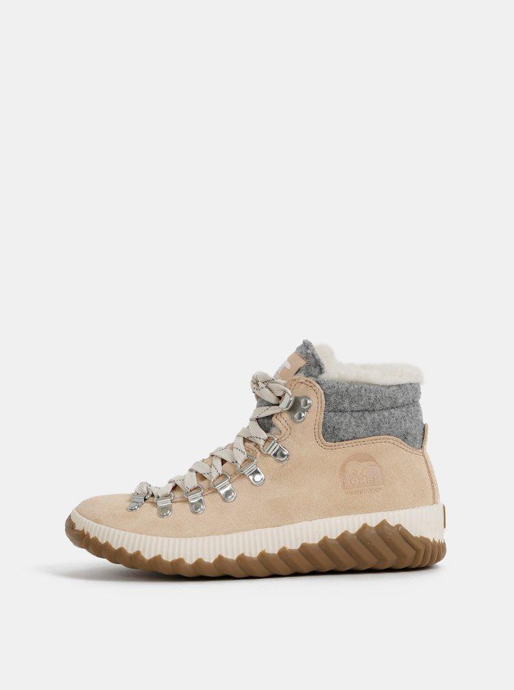 Béžové dámske semišové zimné nepromokavé topánky SOREL Out N about
