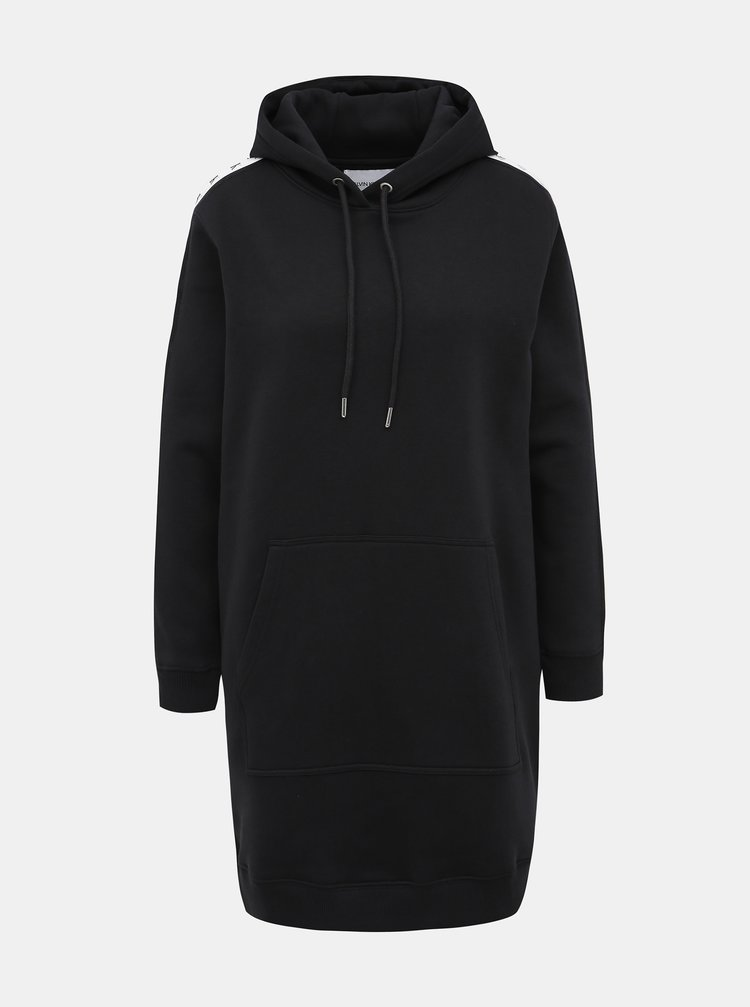 Černé mikinové šaty s lampasem Calvin Klein Jeans