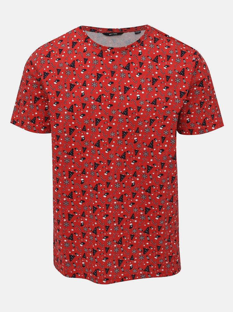Červené vzorované tričko ONLY & SONS Kasut