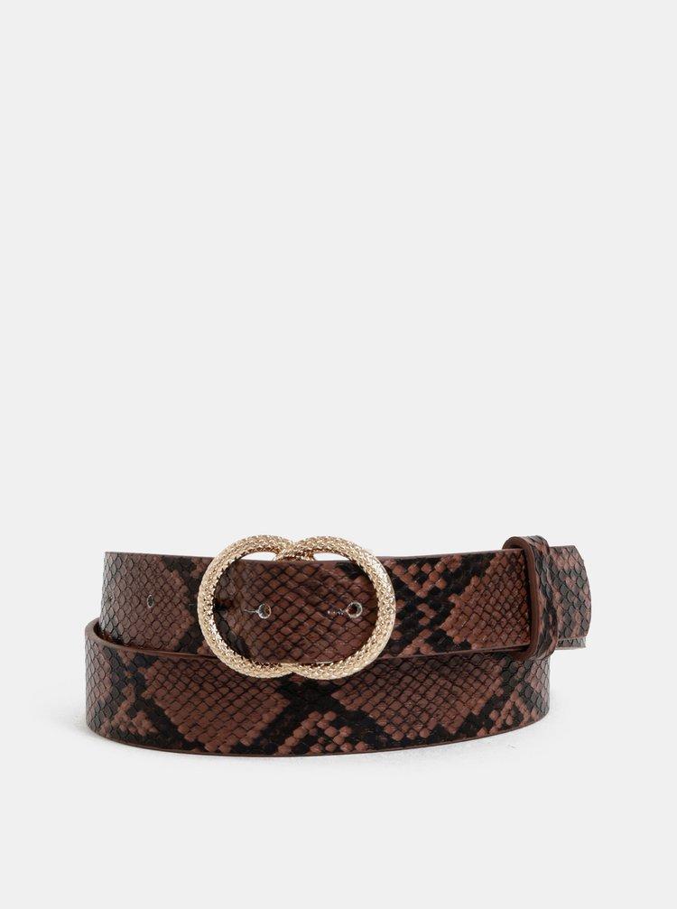 Hnedý dámsky kožený opasok s hadím vzorom Haily´s Sena