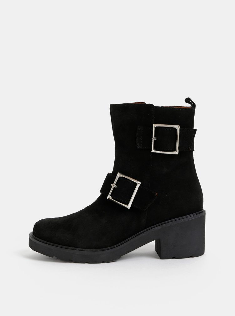 Čierne semišové kotníkové topánky OJJU
