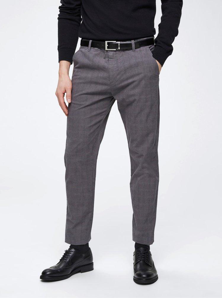 Šedé kostkované chino kalhoty Selected Homme Arval