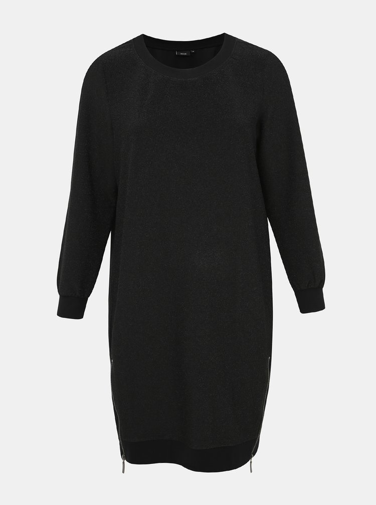 Čierne metalické mikinové šaty so zipsami Zizzi Noelani