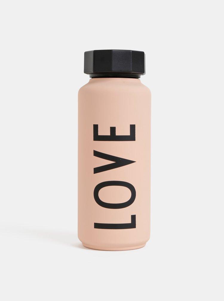 Světle růžová termo láhev Design Letters Love 500 ml