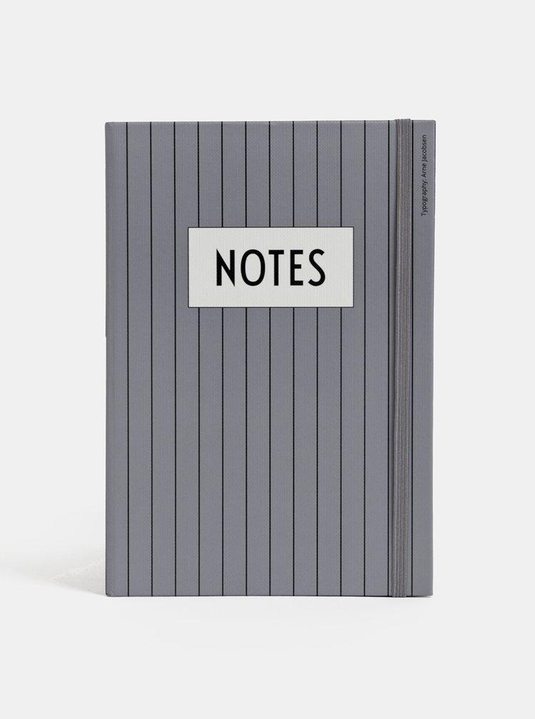 Šedý pruhovaný zápisník Design Letters Notes A5