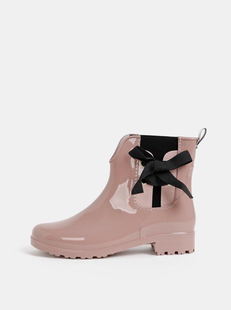 Rúžové dámske kotníkové gumáky Tom Tailor