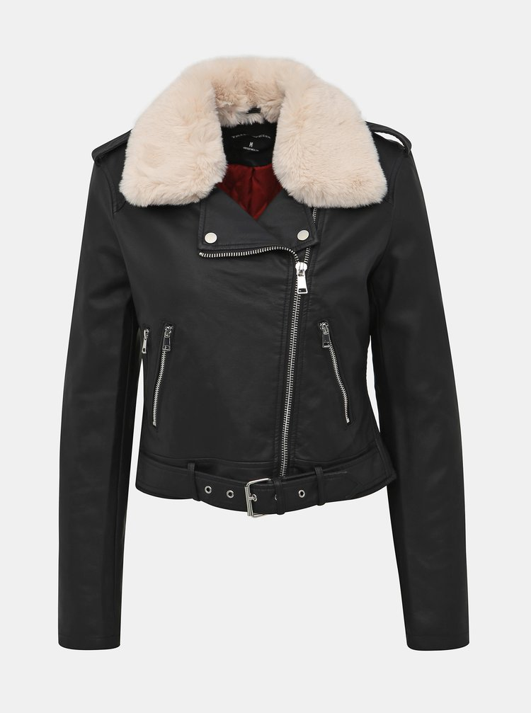 Čierna koženková bunda s odnímateľným umelým kožúškom TALLY WEiJL