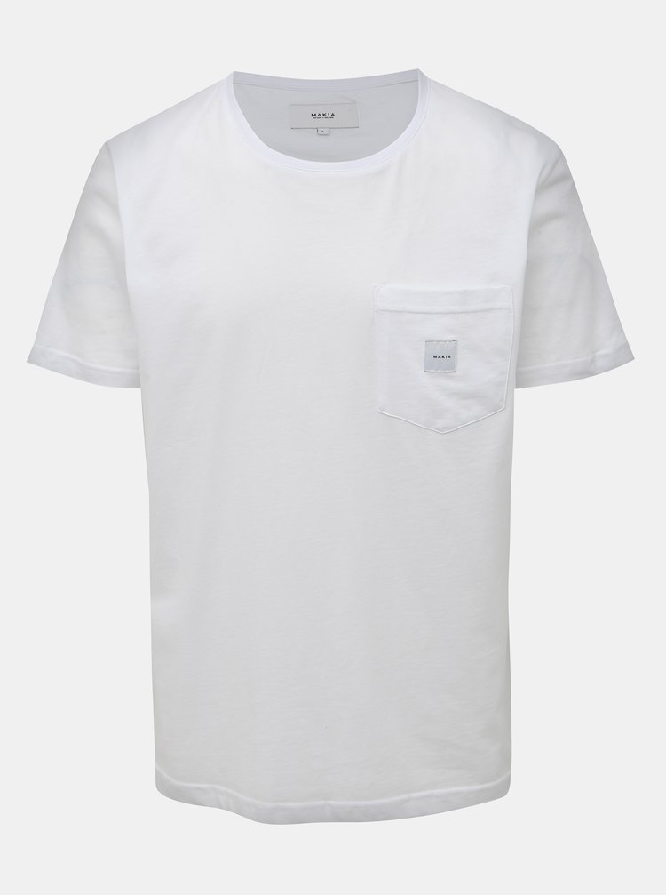 Bílé pánské tričko s kapsou Makia Square Pocket