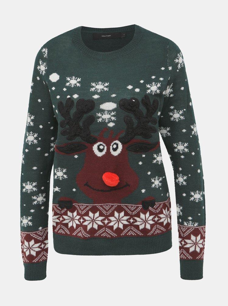 Tmavě zelený svetr s vánočním motivem VERO MODA Snowy Deer