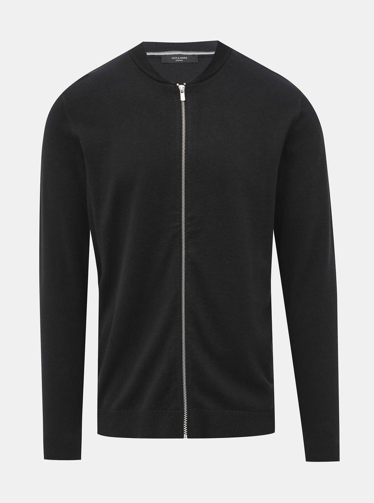 Černý svetr na zip Jack & Jones Redgar