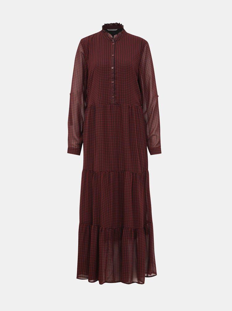 Vínové vzorované košilové maxišaty ONLY Daphine