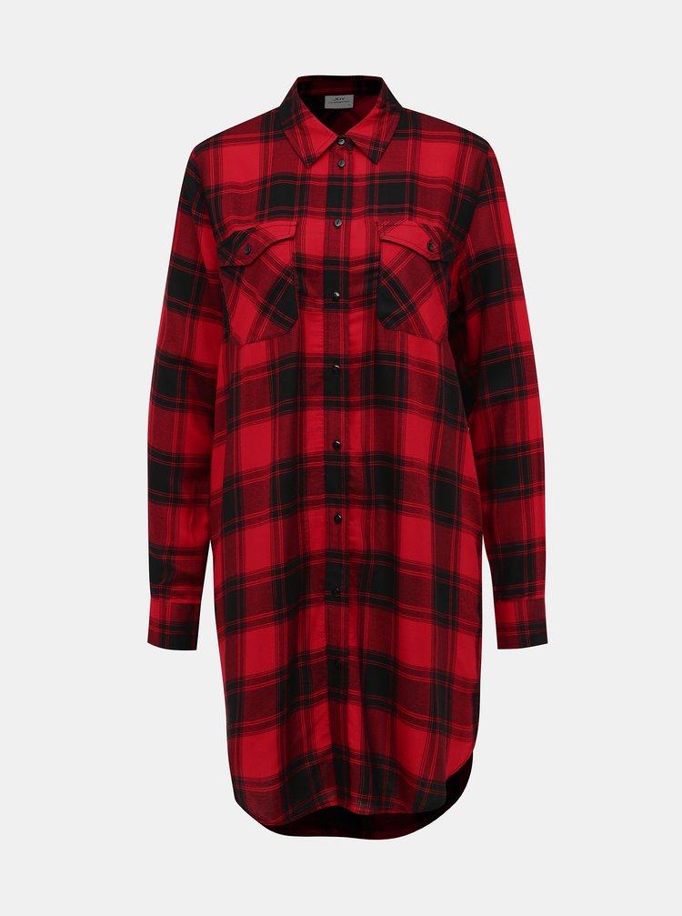 Červená kockovaná dlhá košeľa Jacqueline de Yong Bear