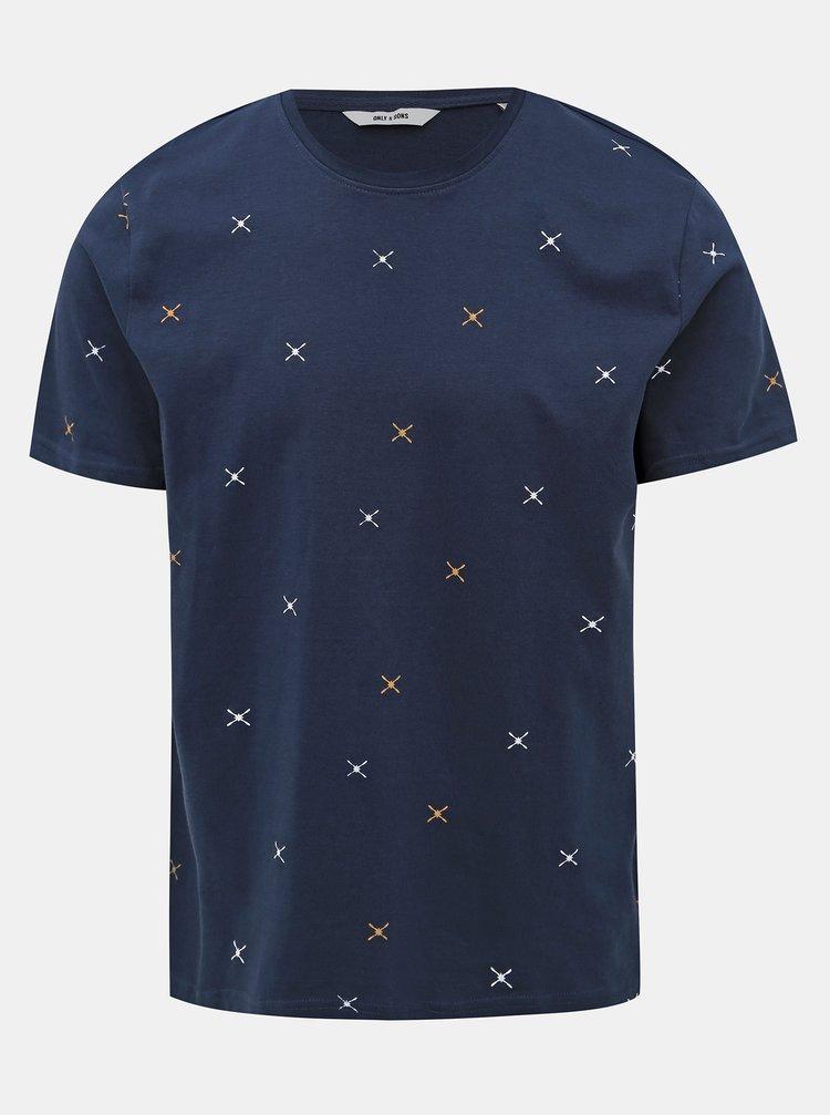 Tmavě modré vzorované tričko ONLY & SONS Kane
