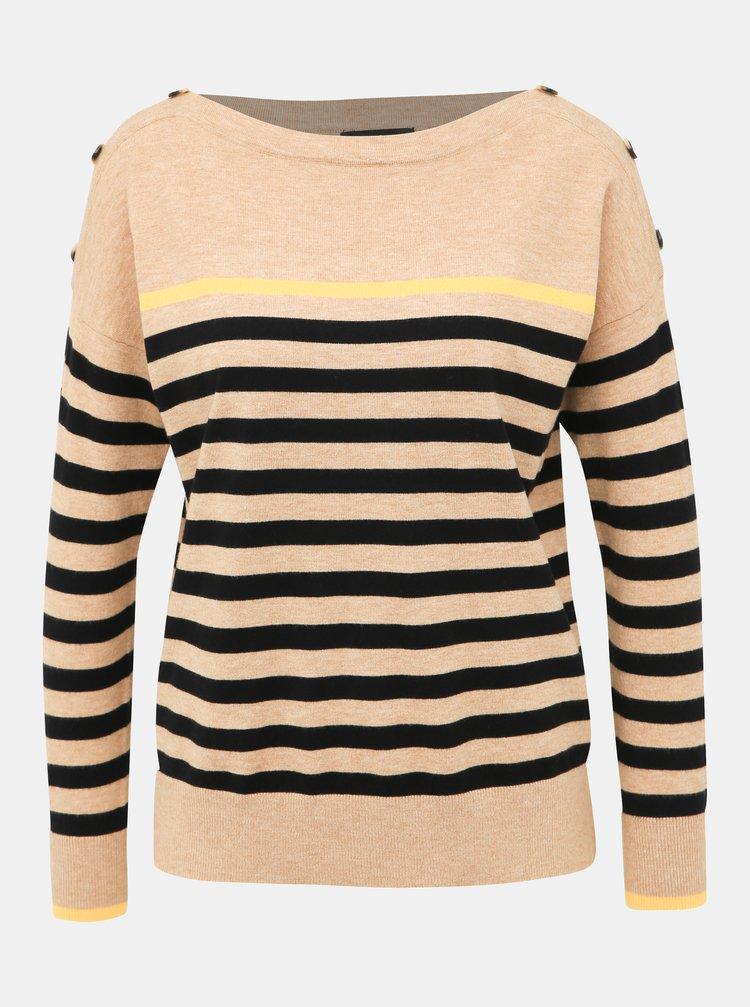 Béžový pruhovaný sveter M&Co