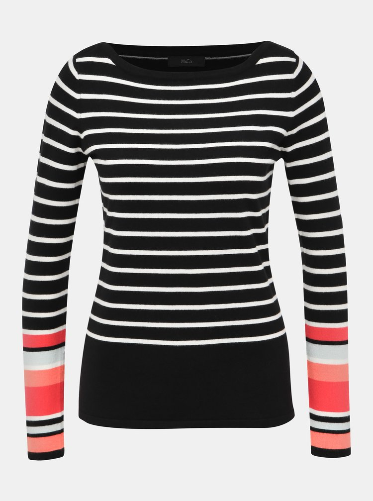 Čierny pruhovaný sveter M&Co