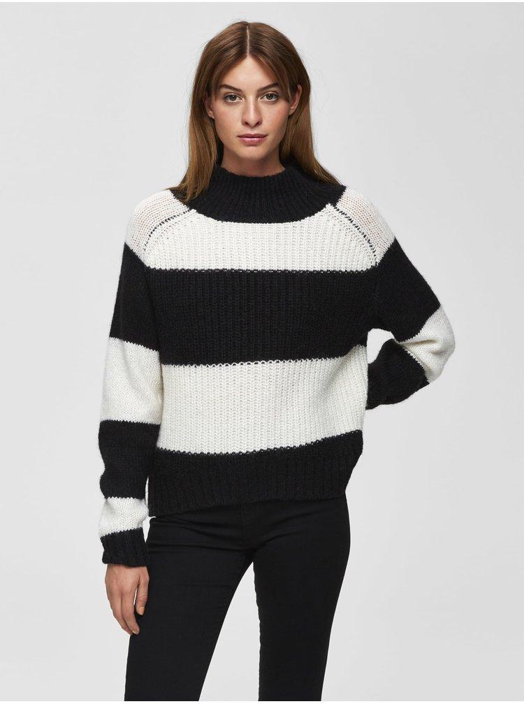 Čierno-krémový pruhovaný sveter s prímesou vlny Selected Femme Chanella