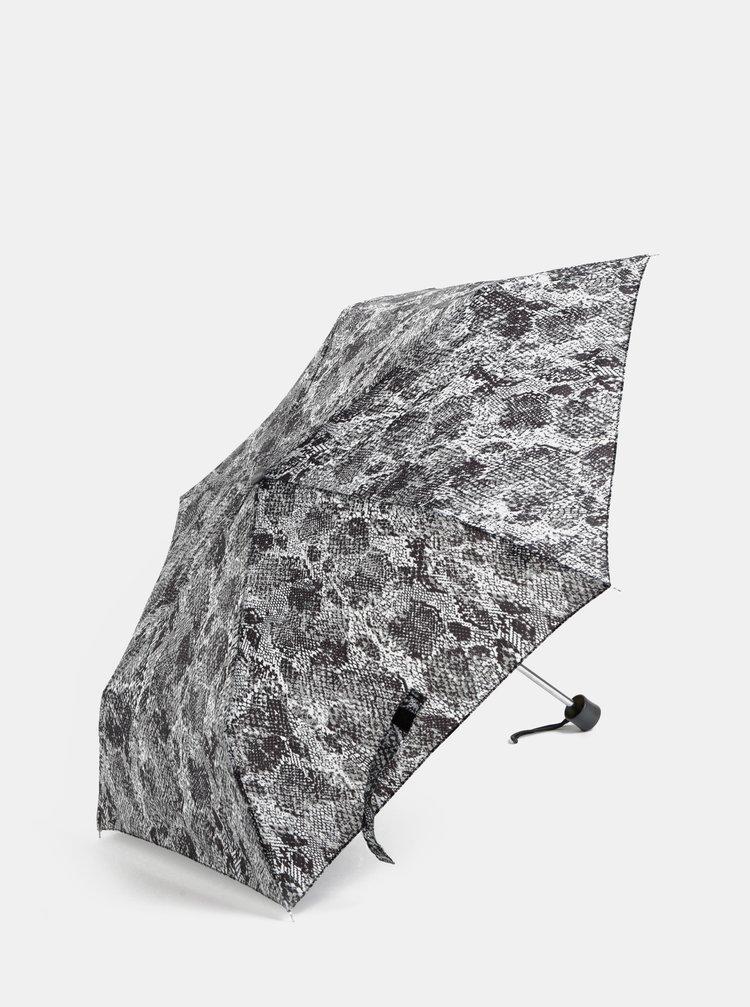Šedý skládací deštník s hadím vzorem M&Co